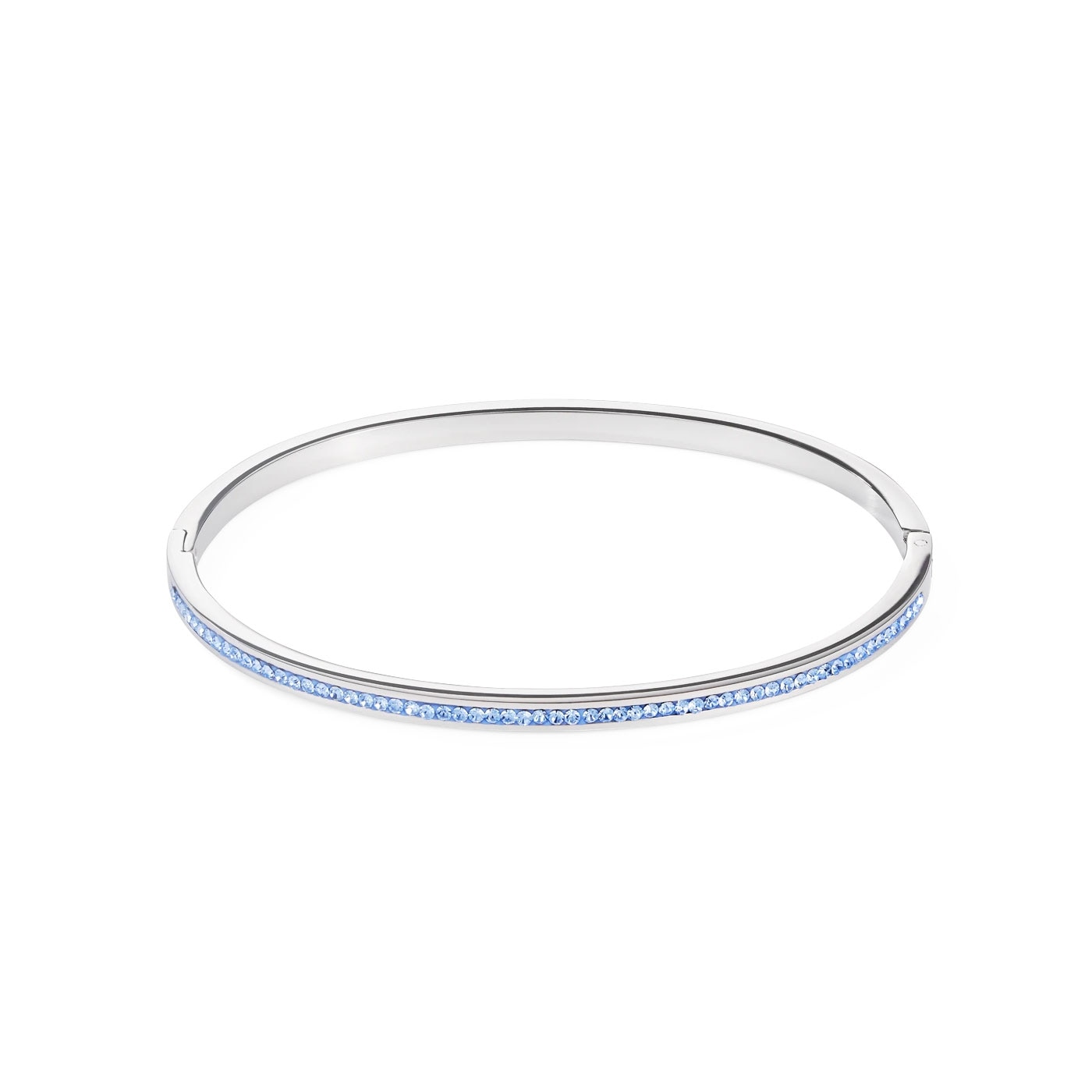 Bangle stainless steel silver & crystals pavé light blue