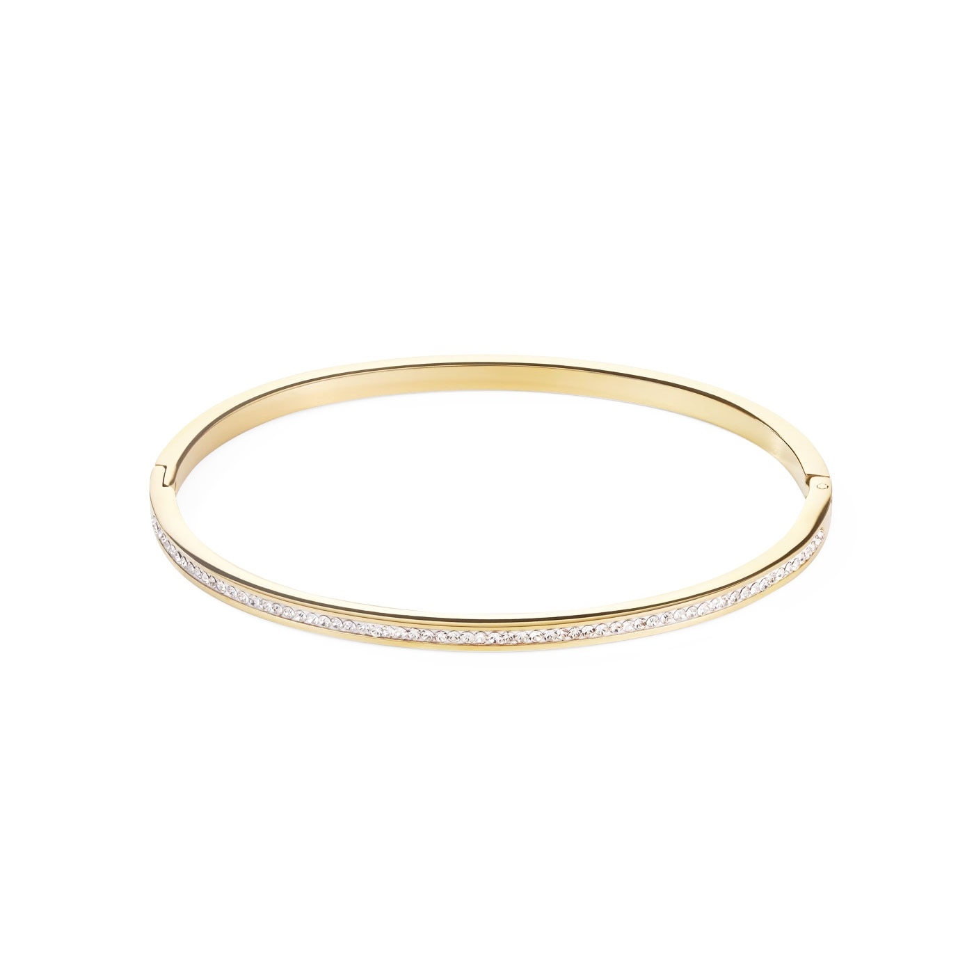 Bangle stainless steel gold & crystals pavé crystal