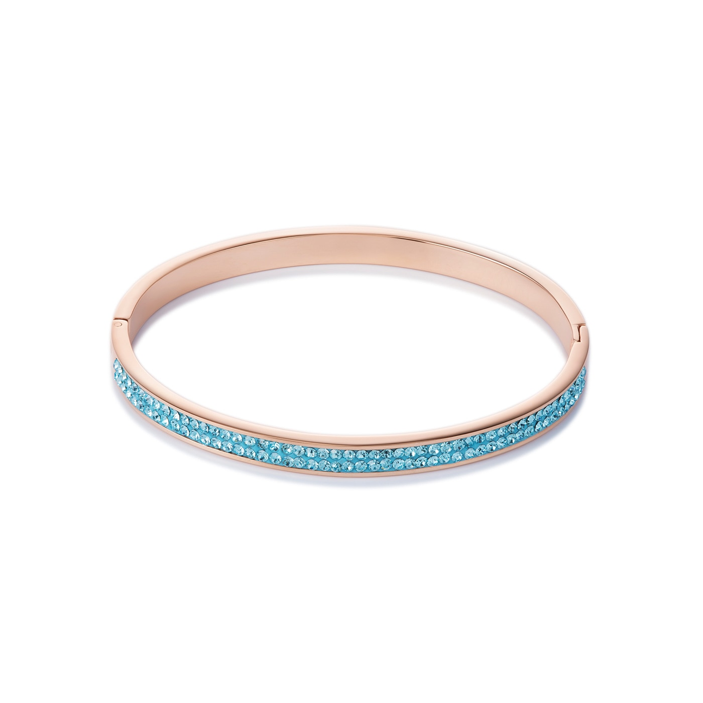 Bangle rose gold & crystals pavé aqua