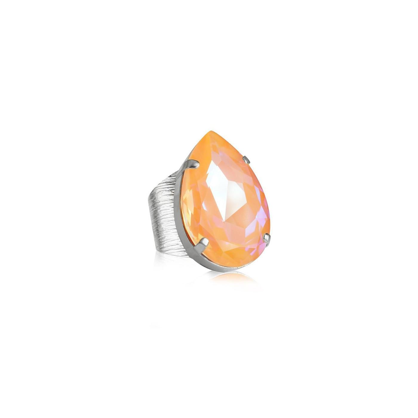 Perfect Drop Ring Rhodium Peach Delite