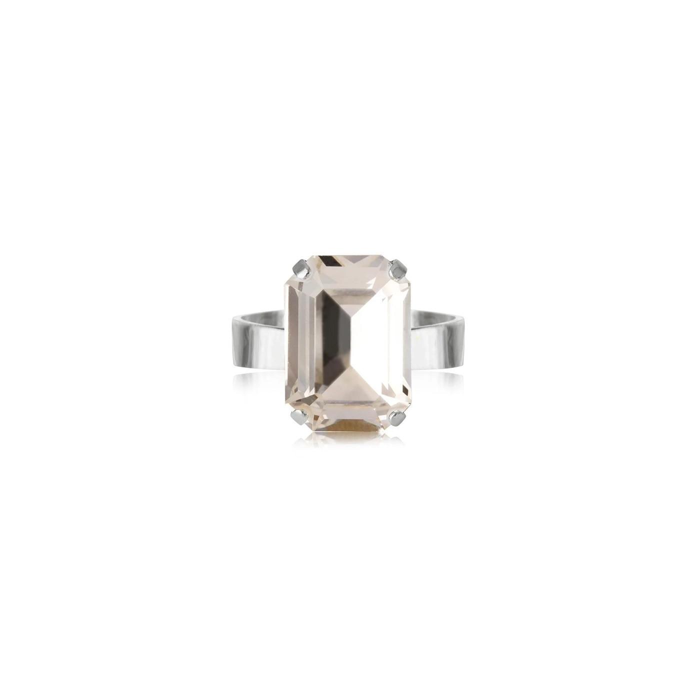 Lydia Ring Rhodium Crystal