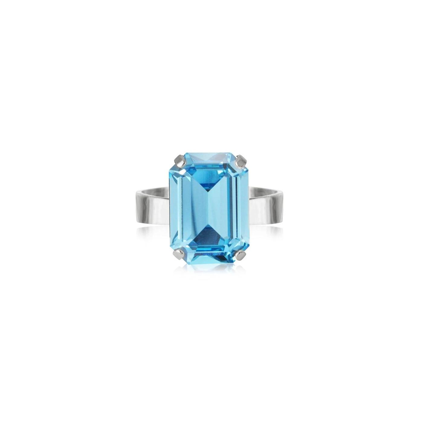 Lydia Ring Rhodium Aquamarine