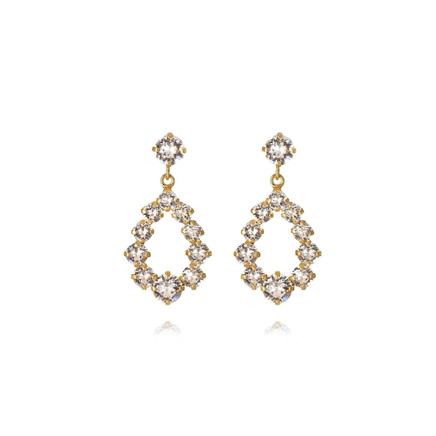 Mini Delia Earring Gold Crystal