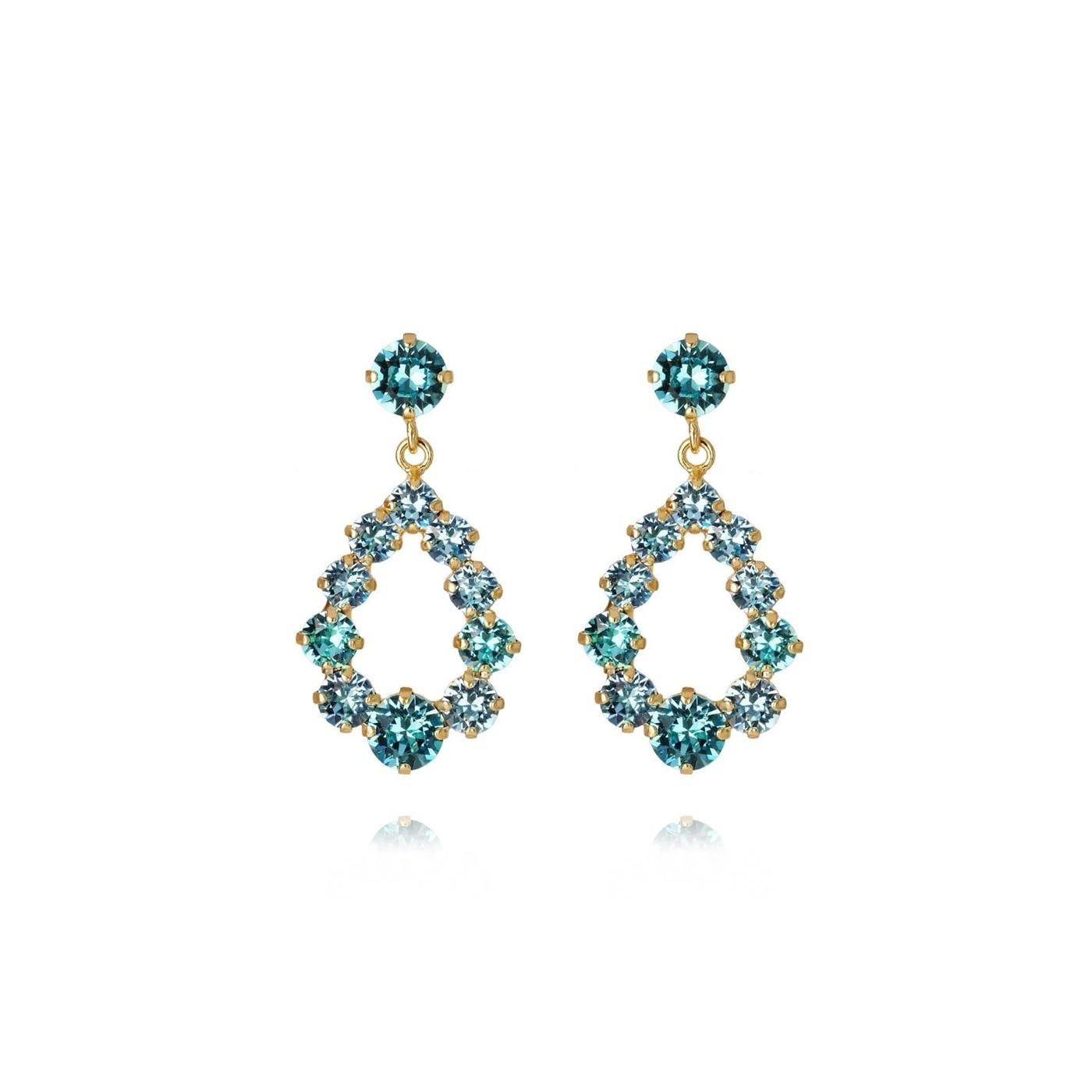 Mini Delia Earring Gold Light Turquoise +Aquamarine