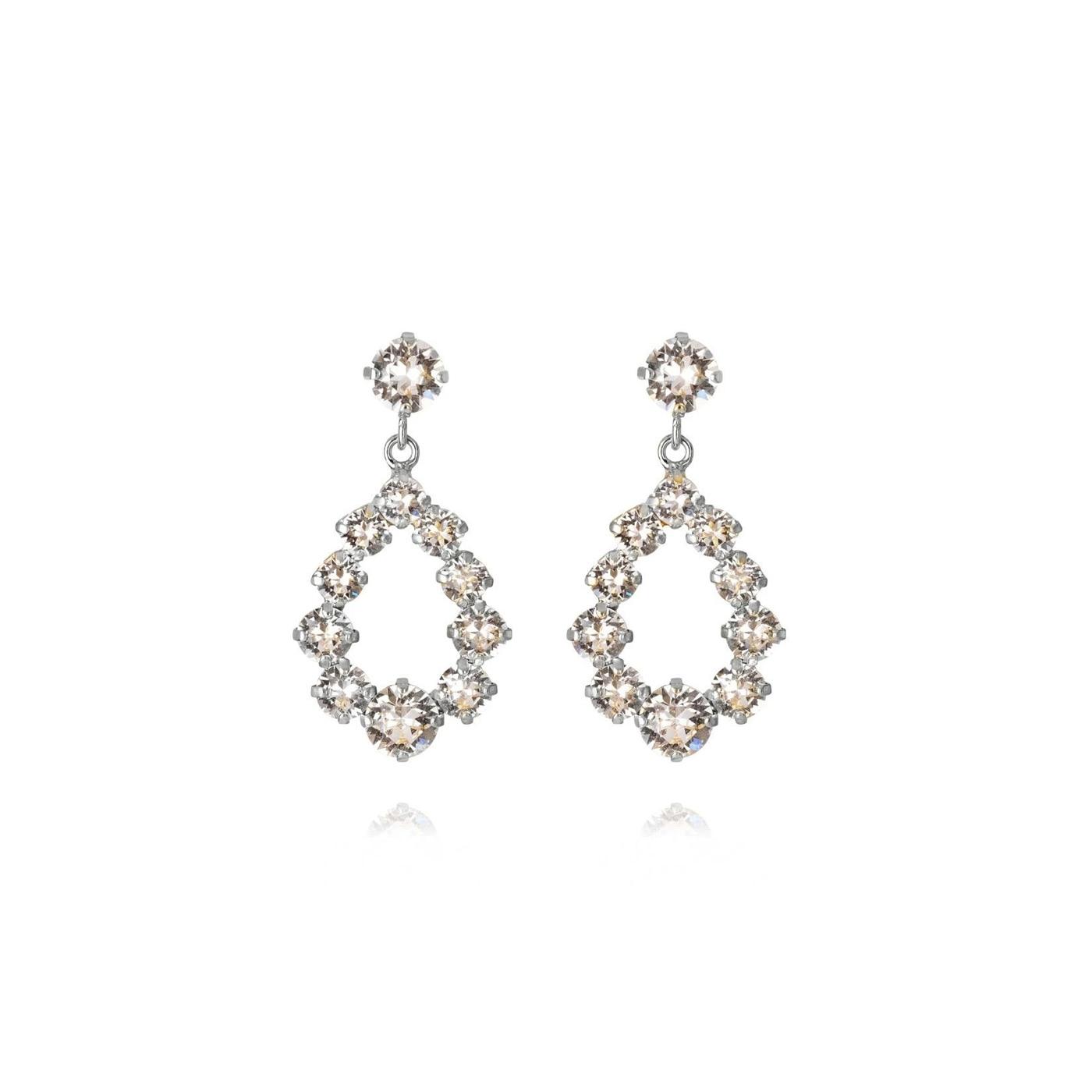 Mini Delia Earring Rhodium Crystal