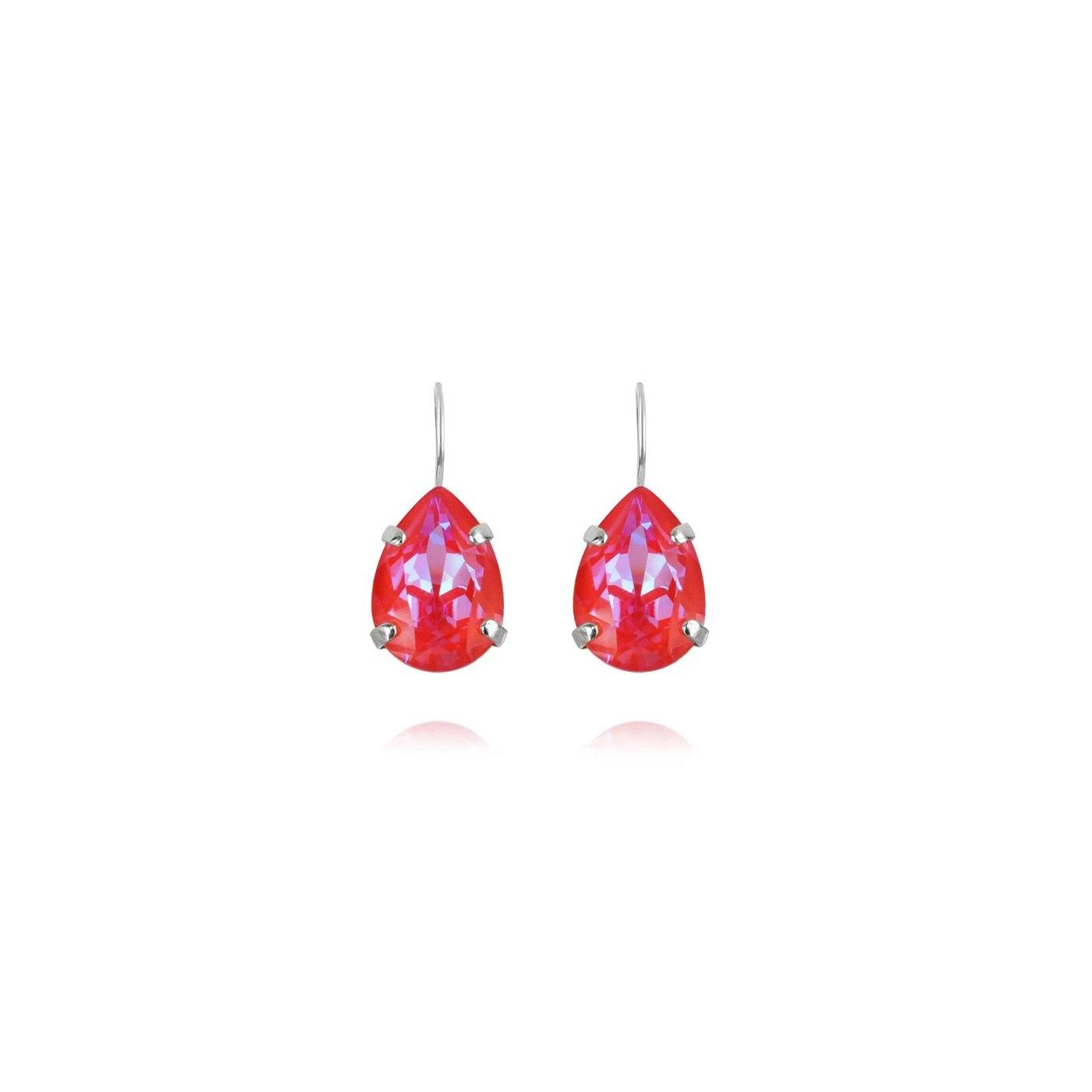 Mini Drop Clasp Örhängen Rhodium Royal Red Delite