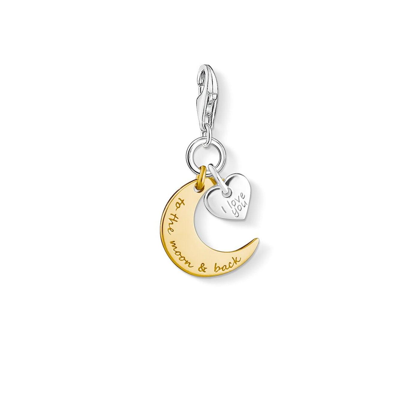 Charm-hängsmycke moon & heart