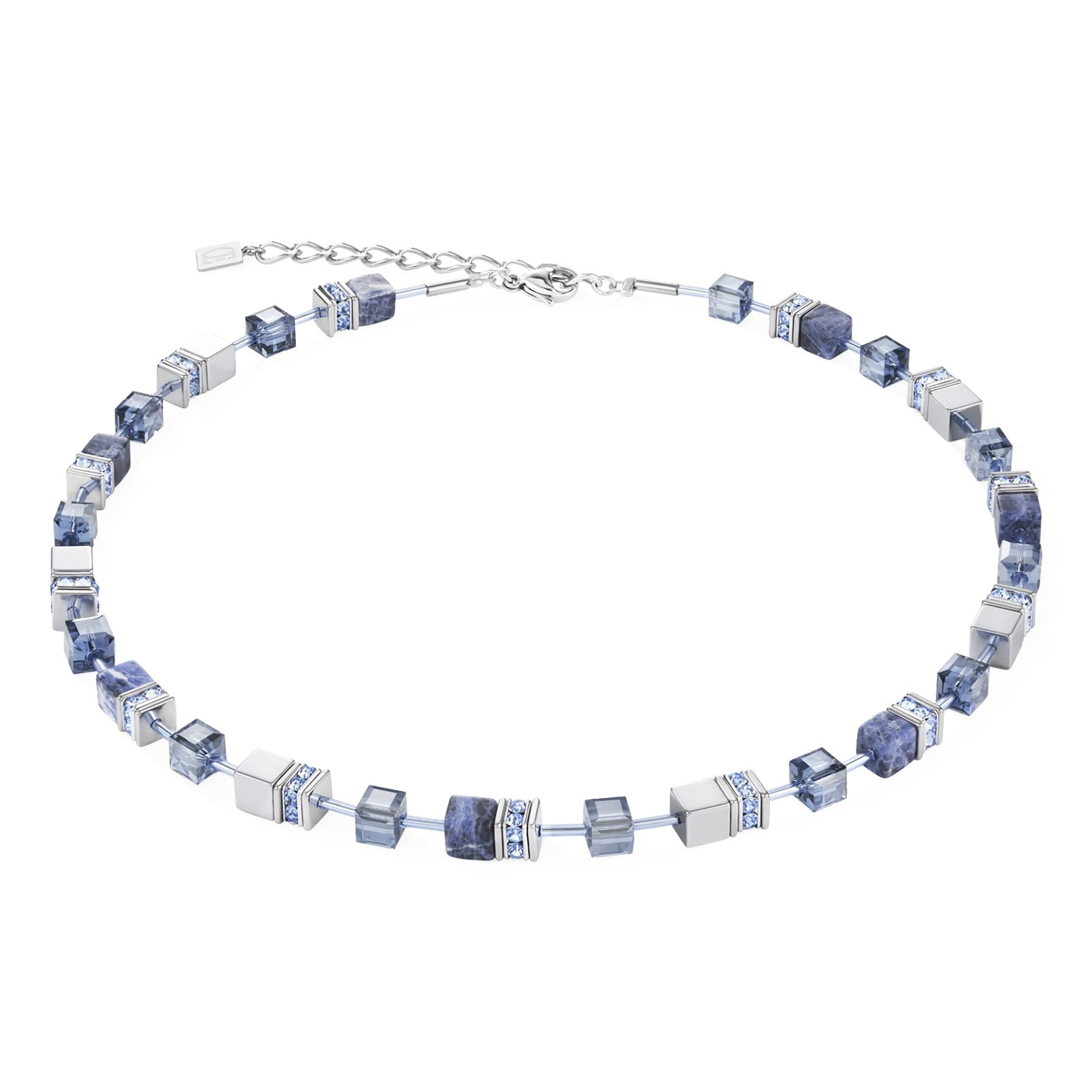 GeoCUBE Necklace sodalite & haematite blue