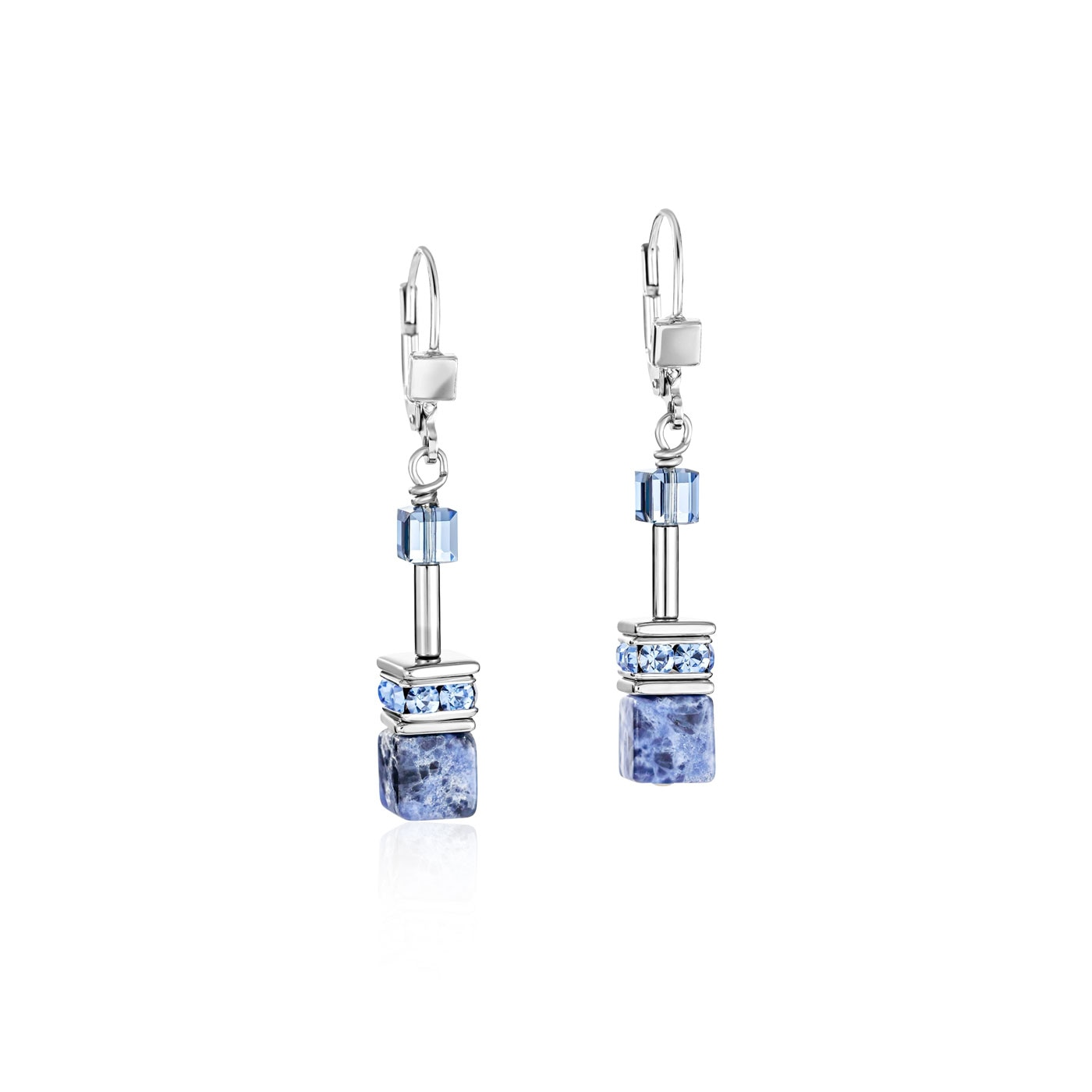 GeoCUBE Earrings sodalite & haematite blue