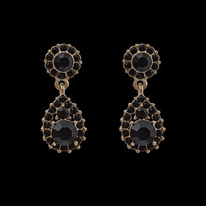 Sofia earrings - Jet/Jet  (Gold)
