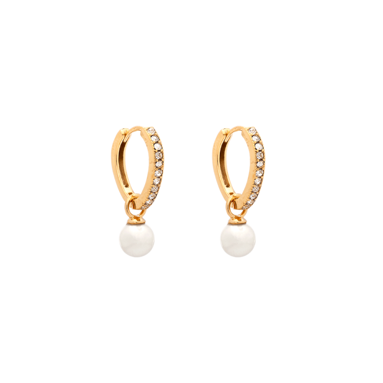 Petite Kennedy hoops earrings - Ivory pearl (Gold)