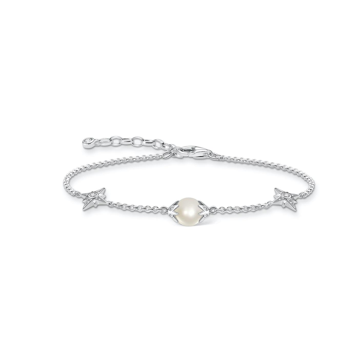 Armband pärla med stjärnor silver