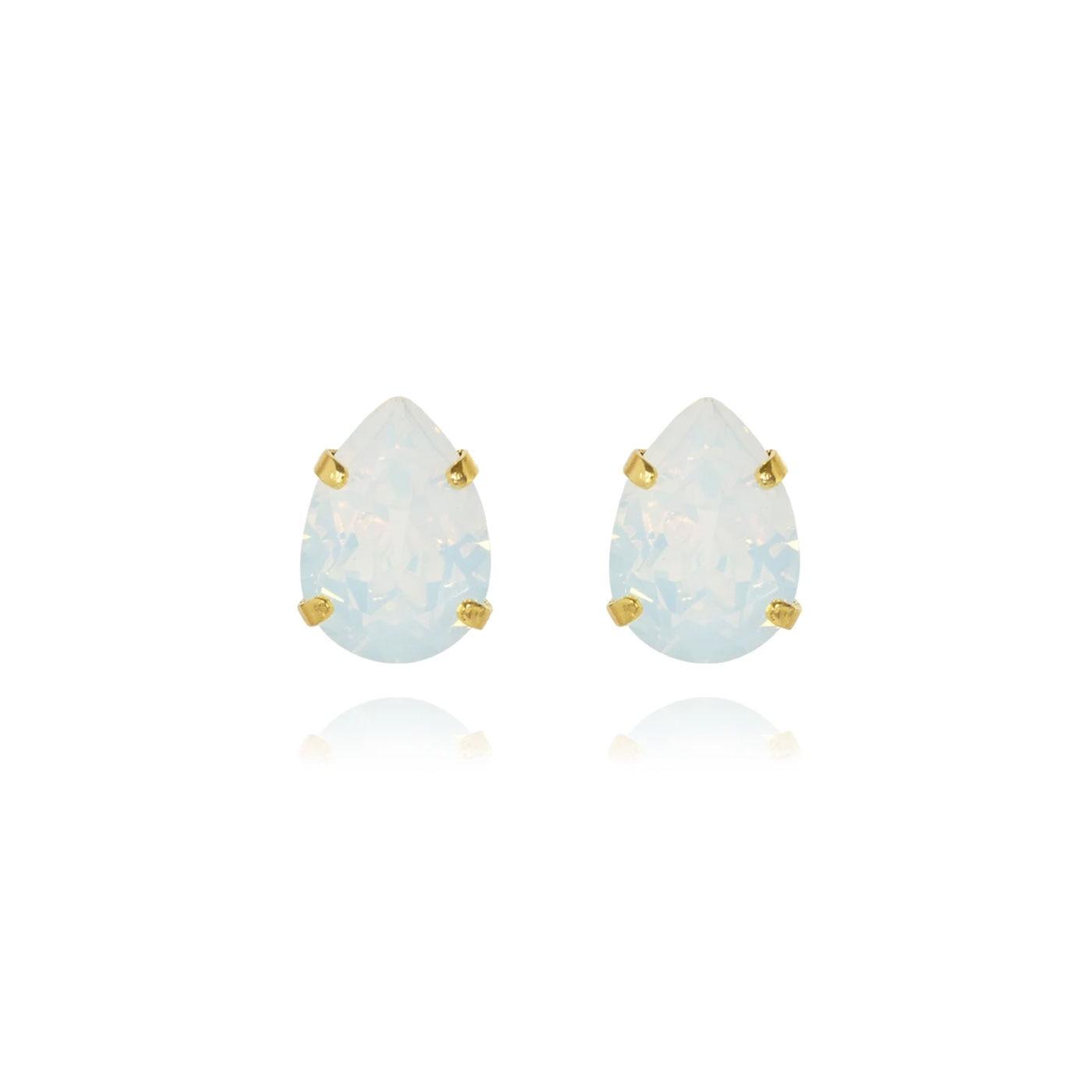 Mini Drop Stud Earrings Gold White Opal