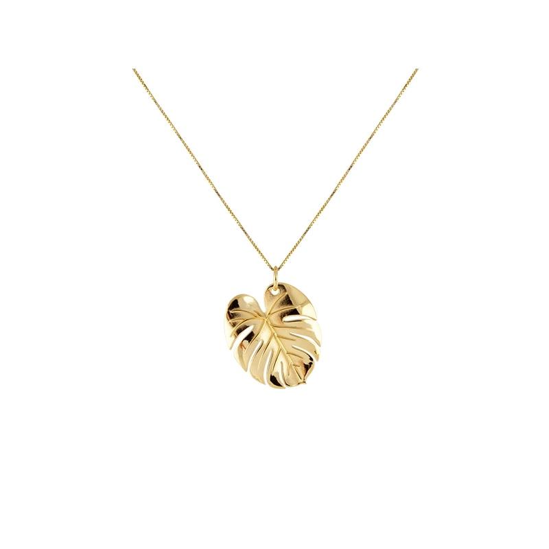 Palm Leaf Necklace Gold L