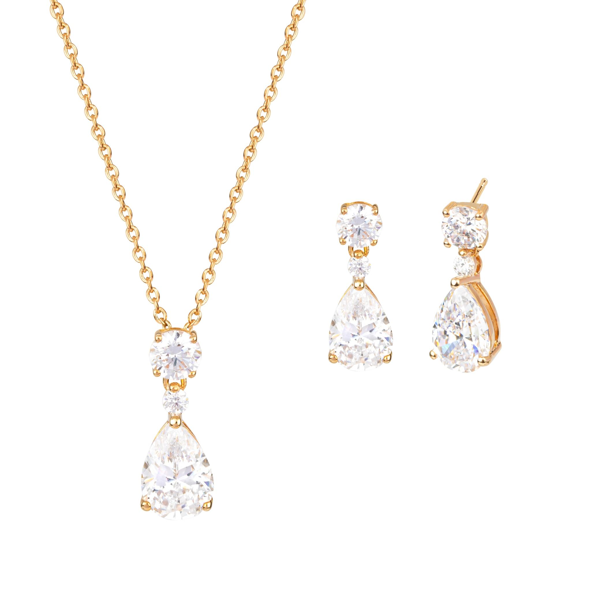 Tear pendant and earrings