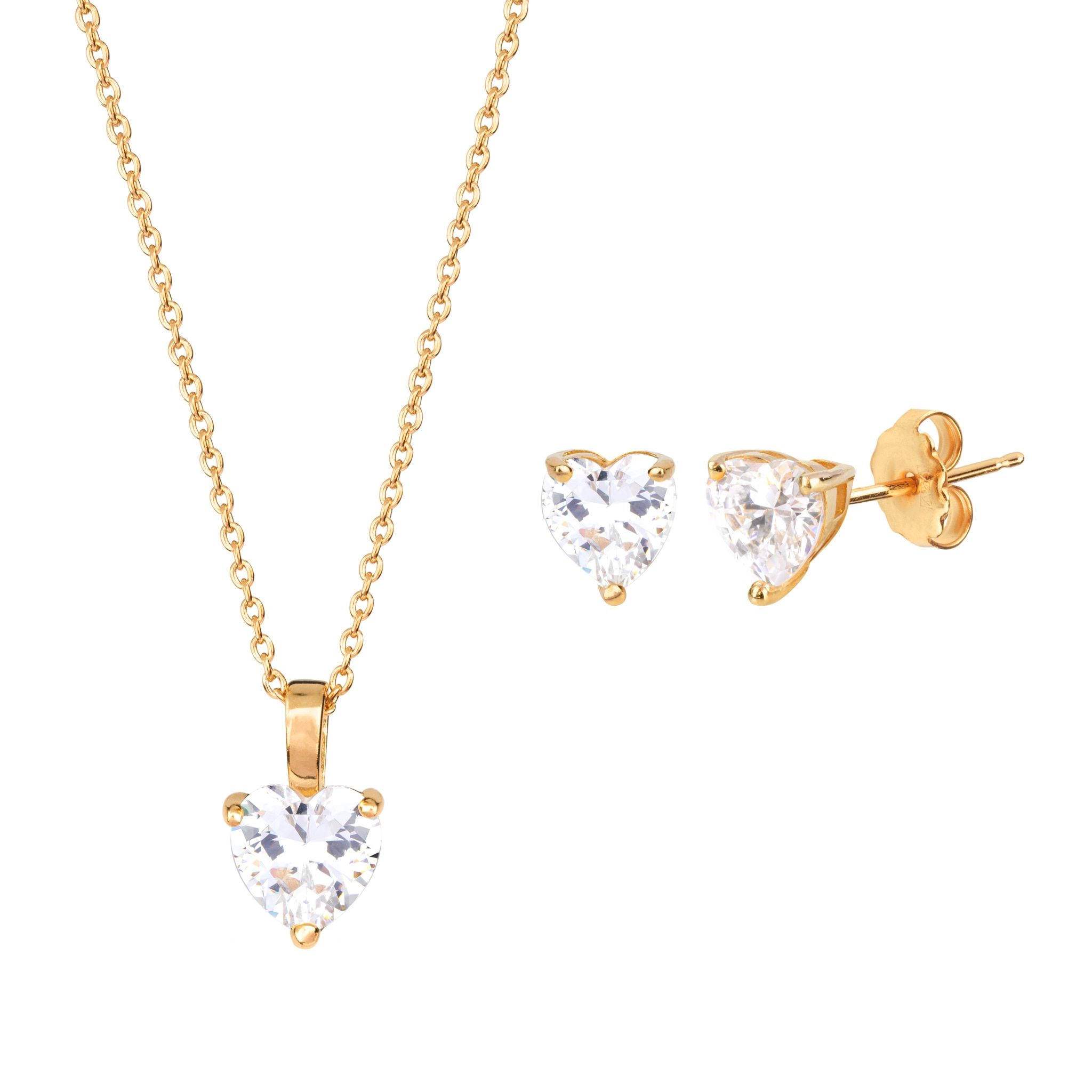Heart pendant and earrings