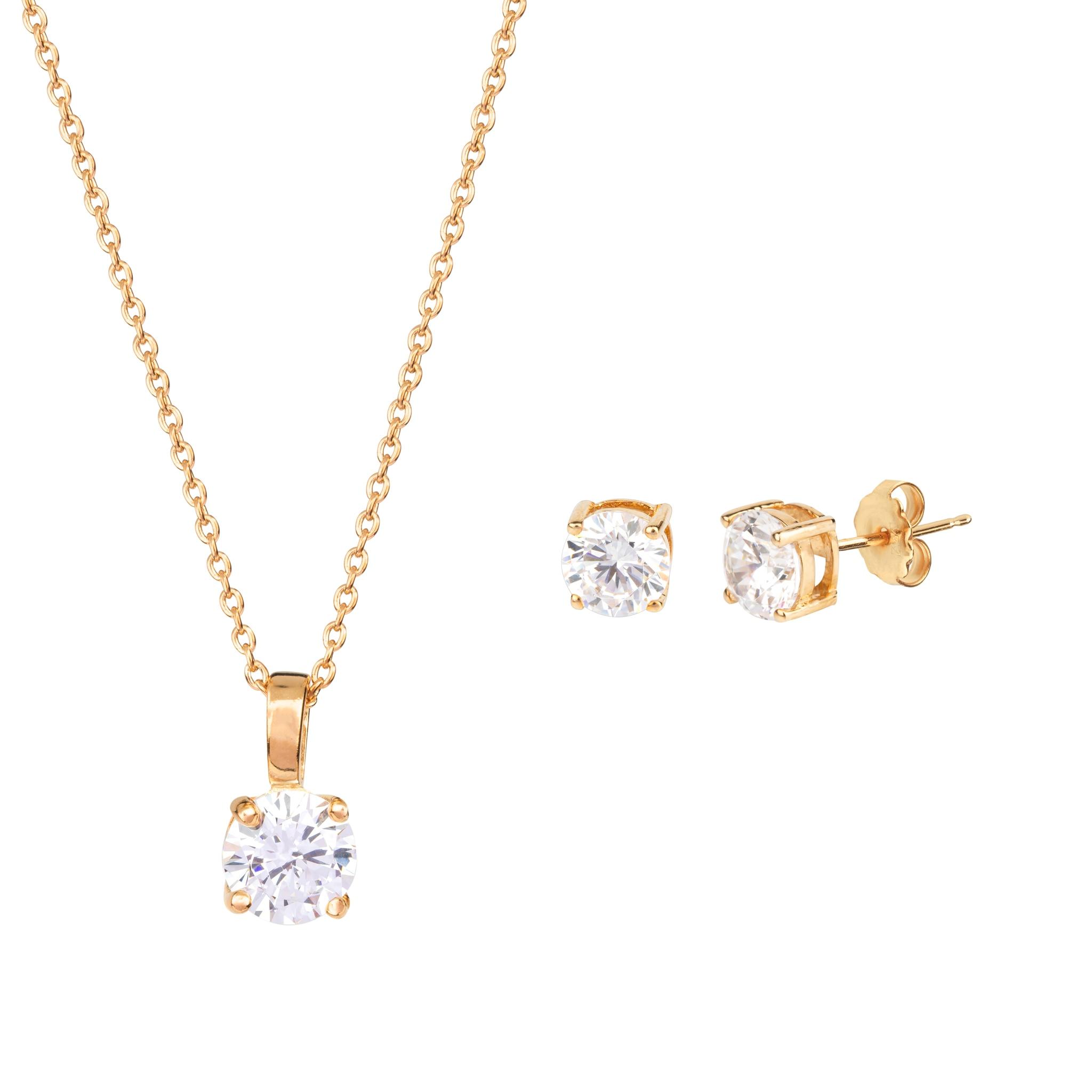 Zircons pendant and earrings