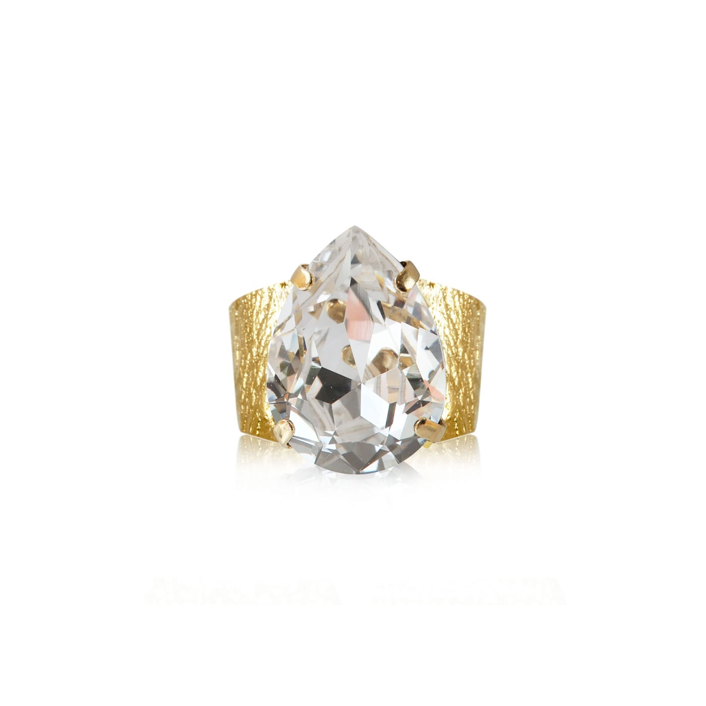 Classic Drop Ring Gold Crystal