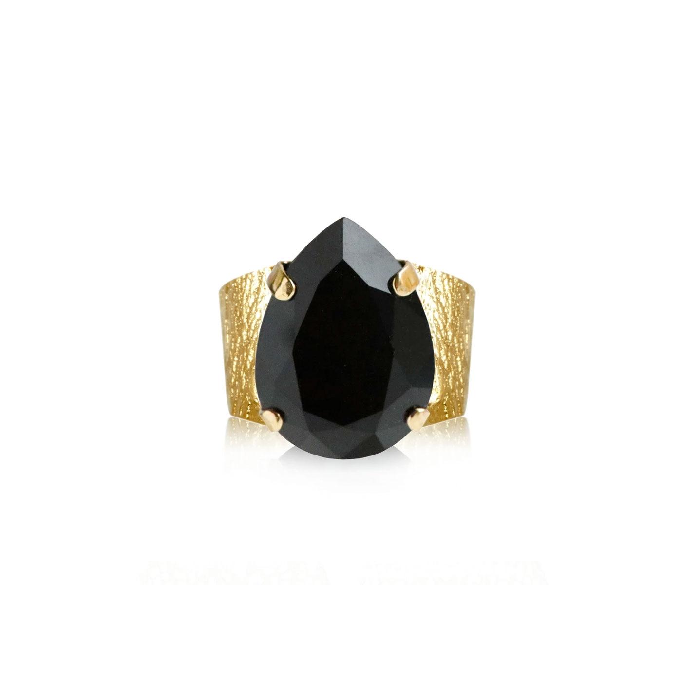 Classic Drop Ring Gold Jet