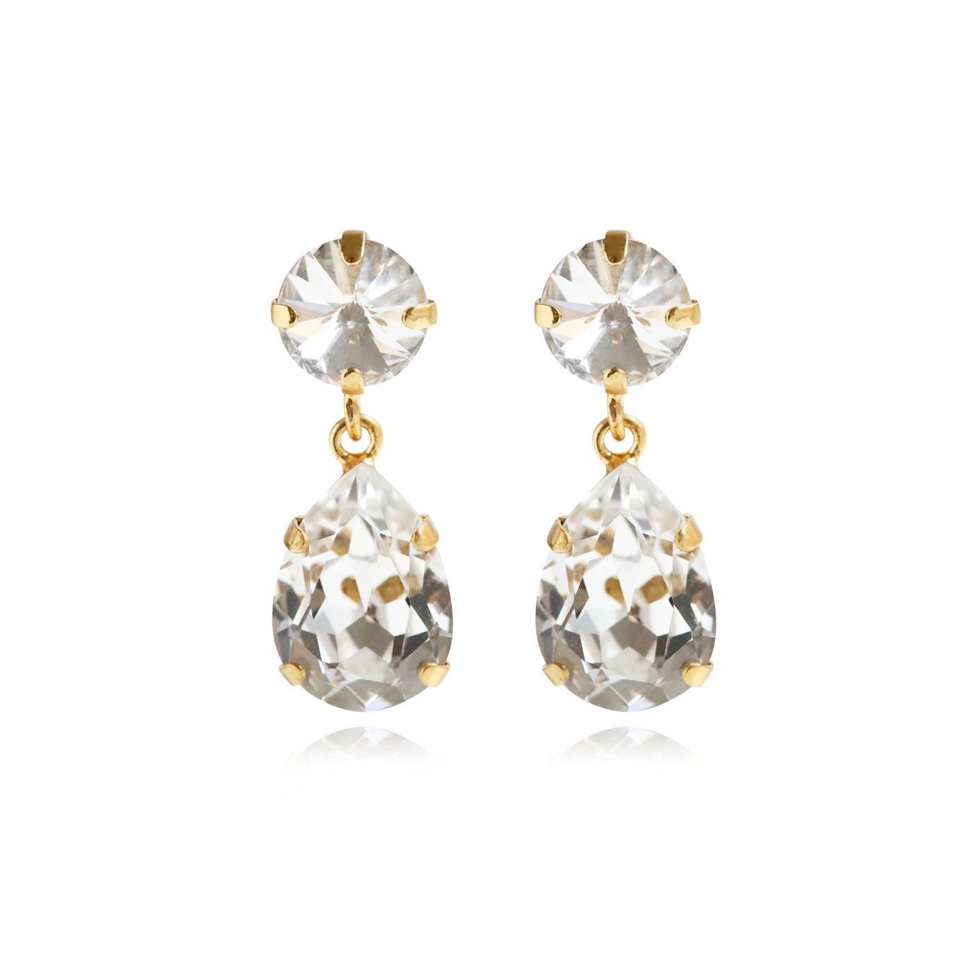 Classic Drop Earrings Gold Crystal