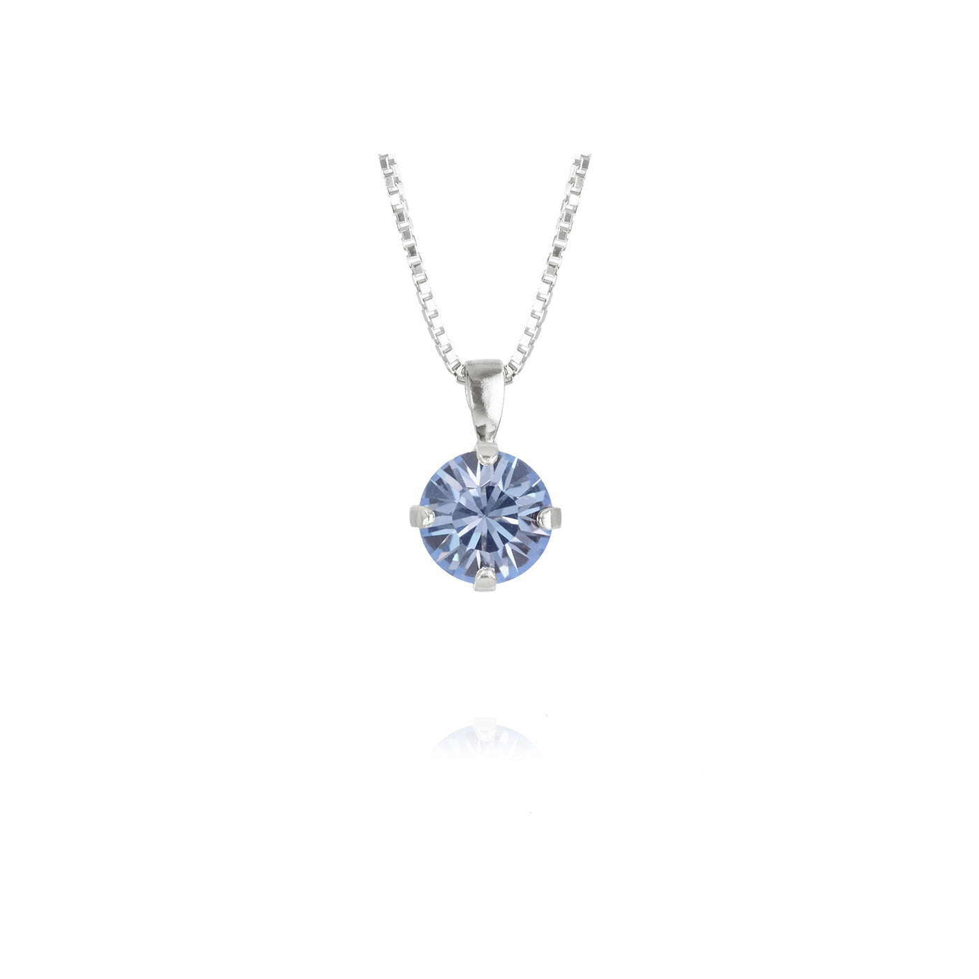 Classic Petite Necklace Rhodium Light Sapphire