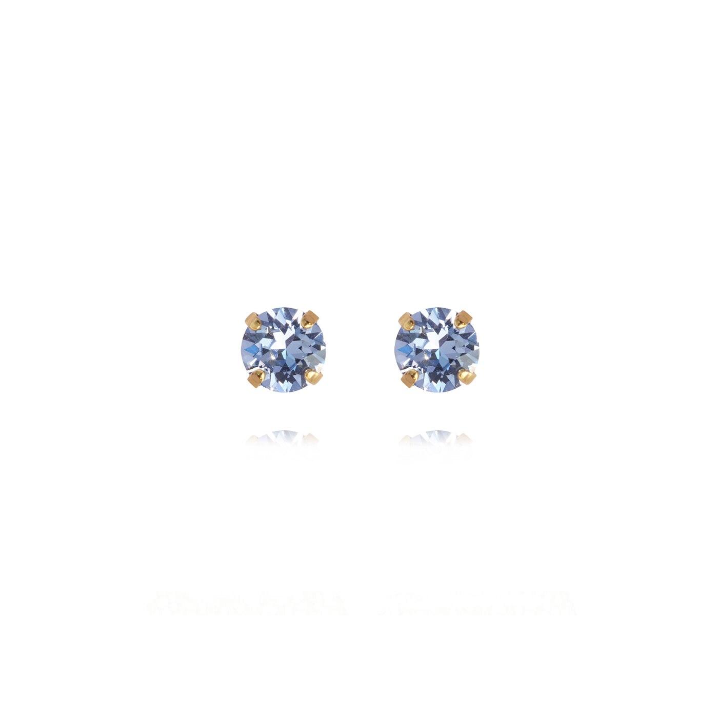 Classic Studs Earrings Gold Light Sapphire