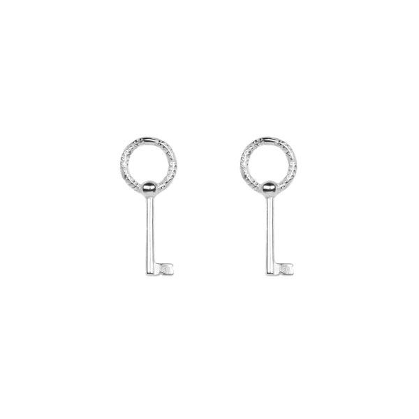 Key Pin Earrings Silver