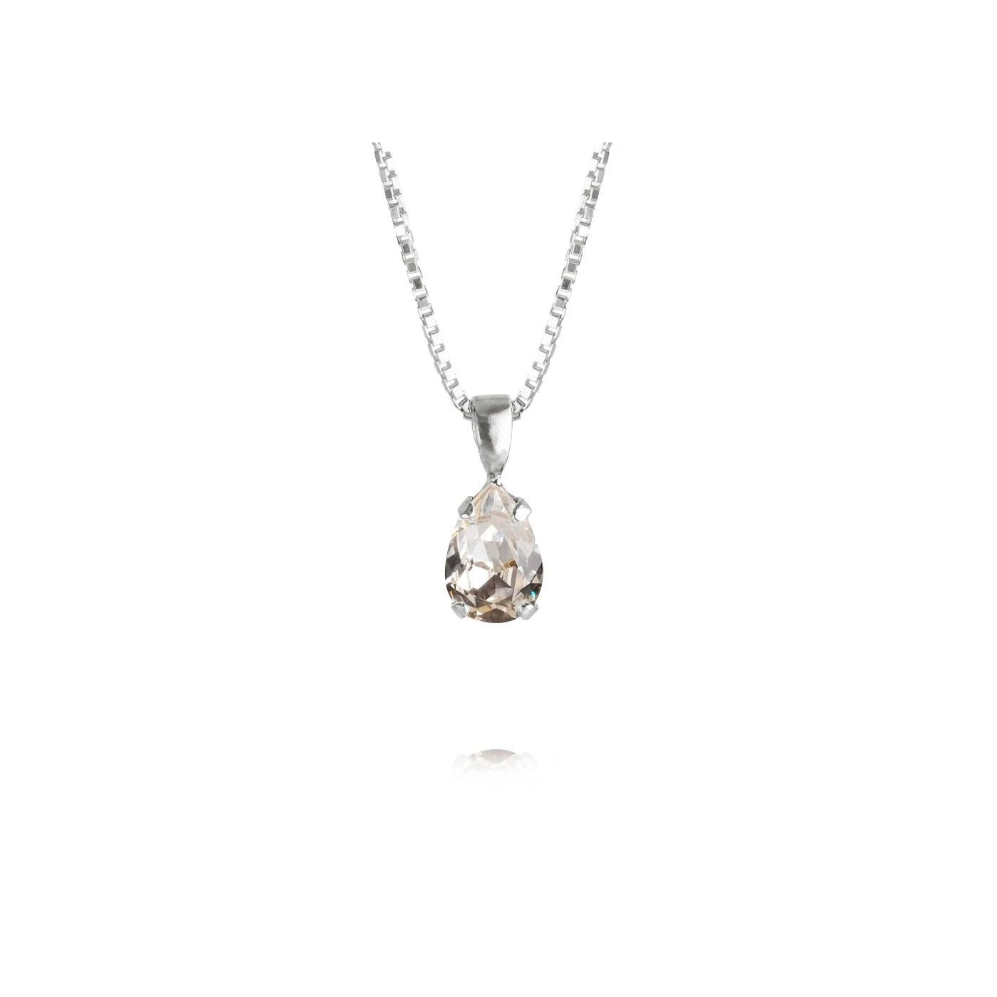 Petite Drop Necklace Rhodium Crystal