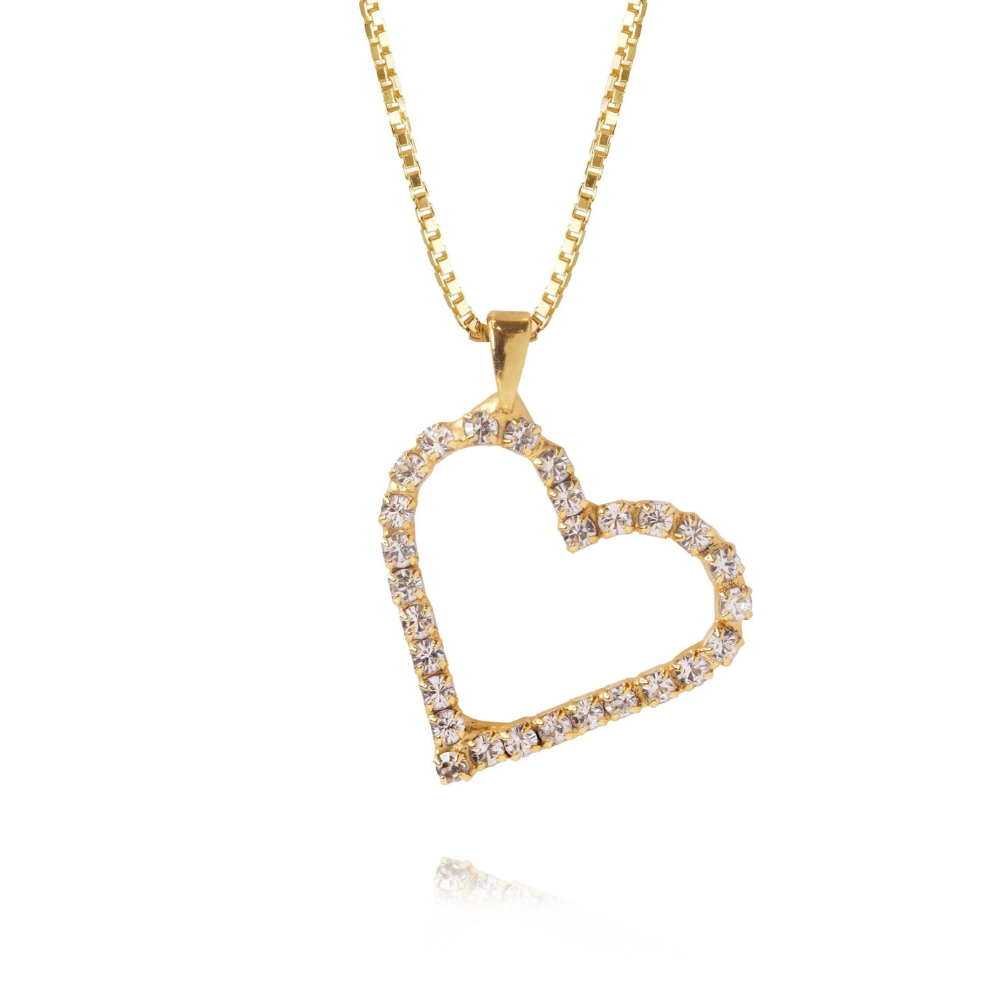 Sweetheart Necklace Gold Crystal